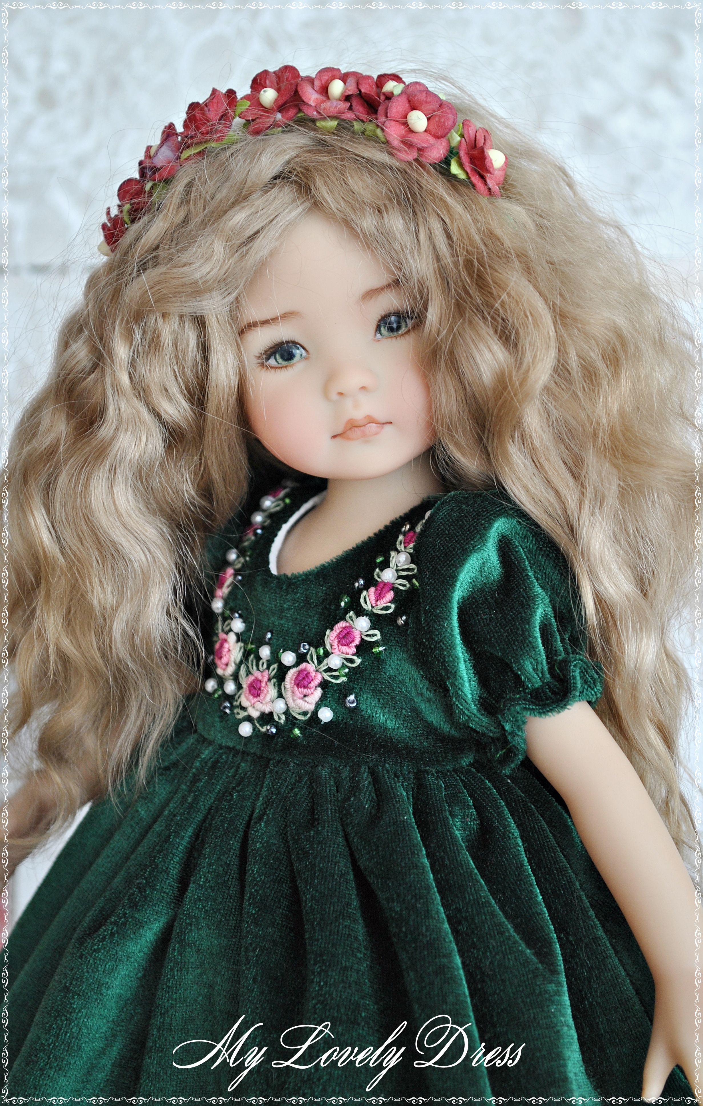"""China Head Doll Rosebud Long Dress for 13/"""" Little Darling Fashion Clothes,"""
