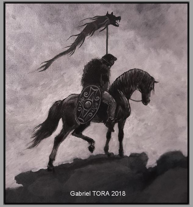e469c2fe6 Dac călare cu dracones. Dacian rider with dracones, dacian wolf flag. Dacia,  Getii, dacii.