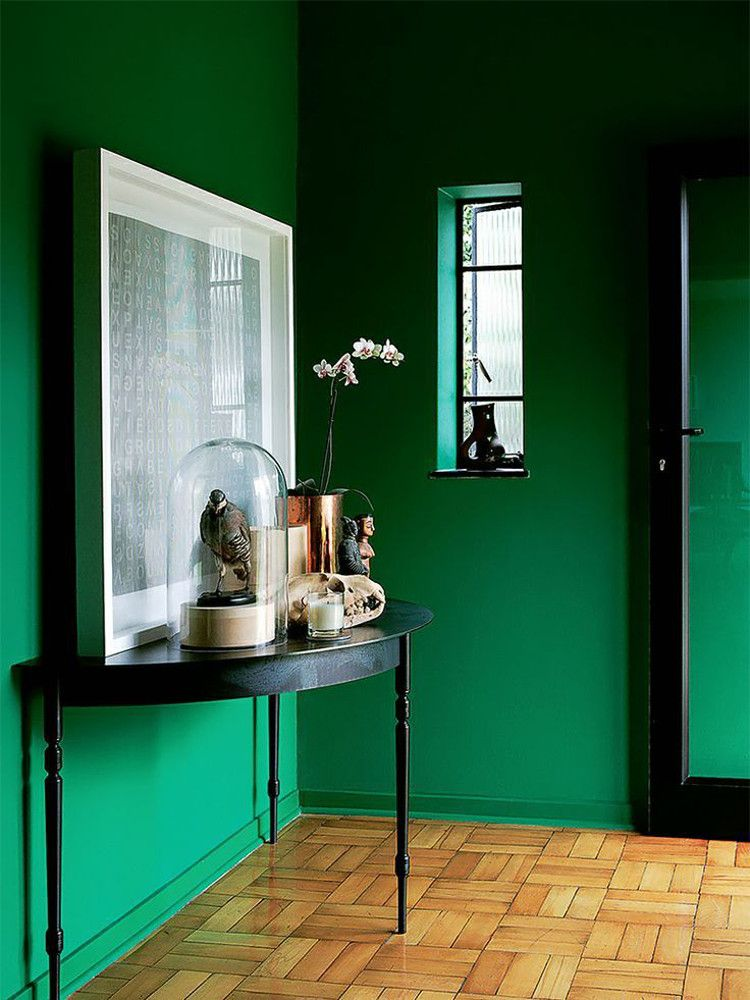 Emerald Green Walls Entry Foyer With Black Furniture And An Oak Parquet Floor Elle Decoration Uk Via Atticmag Home Cur