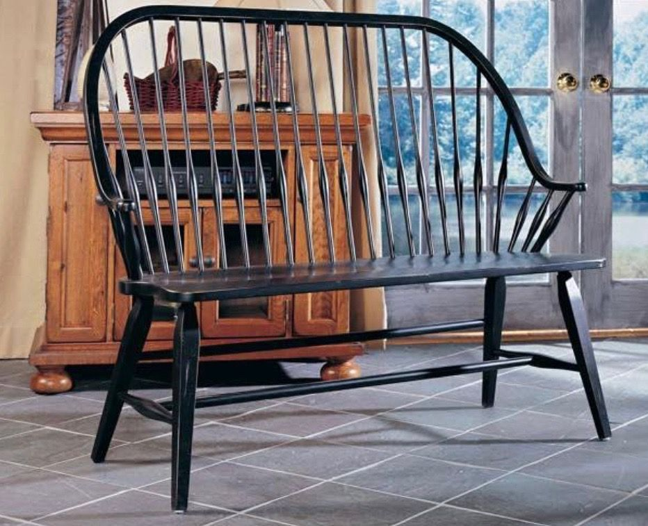 Broyhill Attic Heirlooms Windsor Bench In Black Stain Broyhill Furniture Furniture Heirloom Furniture
