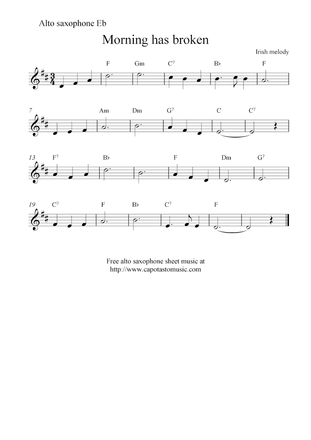 Alto Saxophone Sheet Music Notes