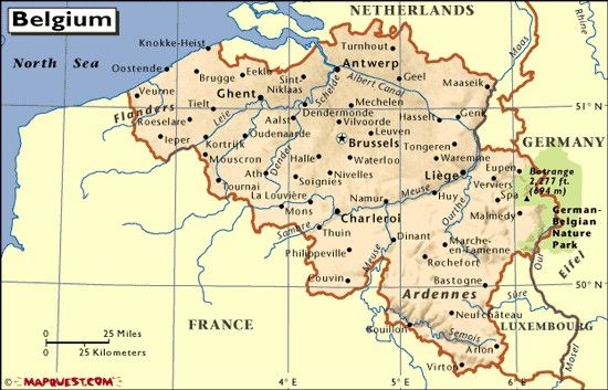 This is a map of Belgium which includes the capital city Brussels