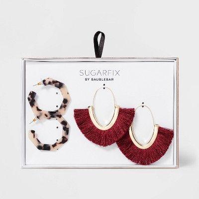 SUGARFIX by BaubleBar Mixed Media Hoop Earring Gift Set – Burgundy/Blonde Tortoise, Yellow/Red/Green