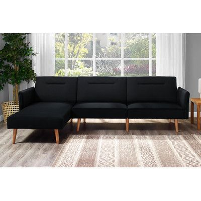 Fresno Sleeper Sectional Upholstery: Black - http://sectionalsofaspot.com/fresno-sleeper-sectional-upholstery-black-665450046/
