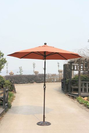 A 9 Diameter Self Tilting Patio Umbrella With Beige Or Red Sunbrella Fabric From Onsight Red Universal Patio Umbrella Patio Sunbrella Fabric
