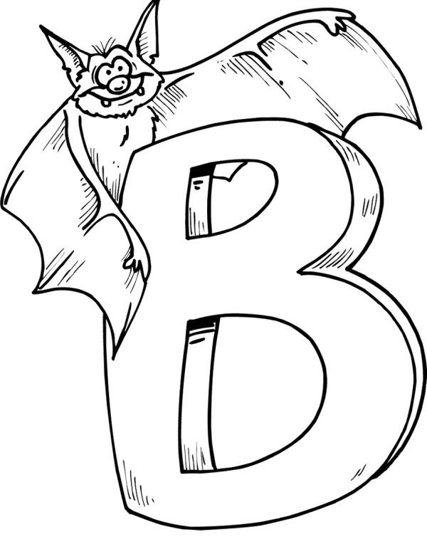 Letter B And A Spooky Bat Coloring For Kids | A SCHOOL PRE K ...
