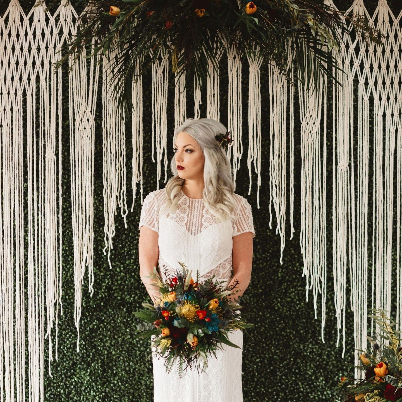 Rustic Wedding Altar Ideas: Boho Wedding Ceremony Backdrop Macrame For An Arch, Arbor