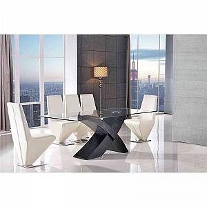 VALENCIA DINING TABLE BLACK SMALL & 4 RITA IVORY CHAIRS - VALDIN02+RITDCL02x4