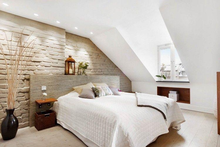 Wandgestaltung in Steinoptik im Schlafzimmer durch Beleuchtung - wandgestaltung dachschrge
