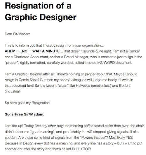 A Graphic DesignerS Resignation Letter  DesigntaxiCom Part