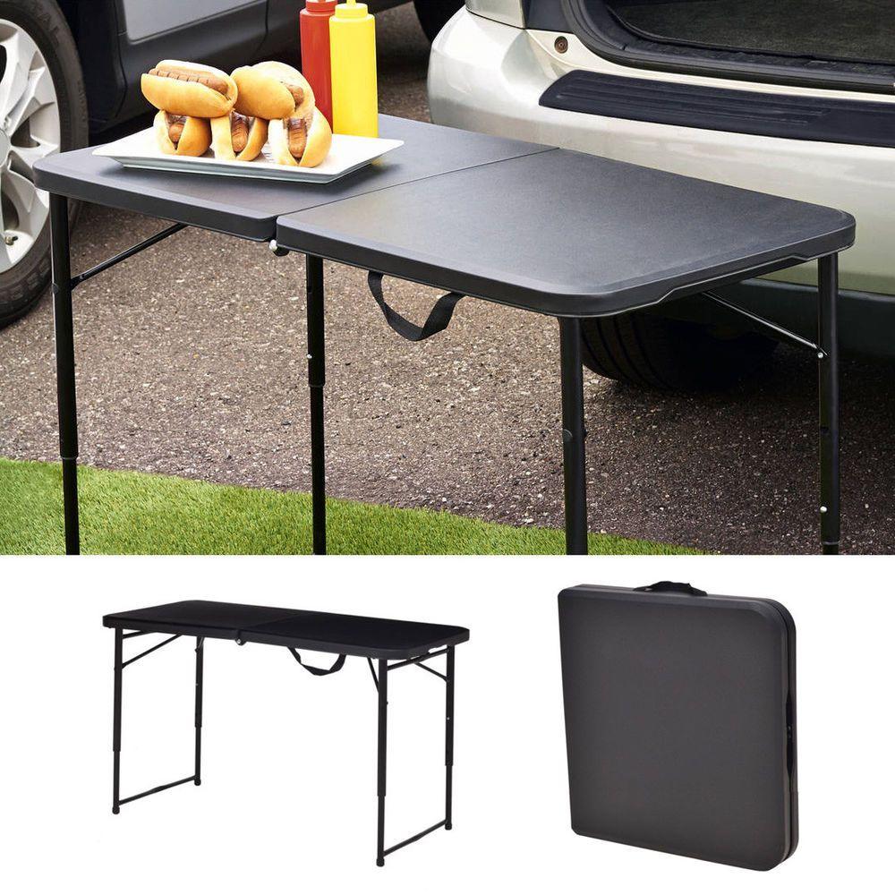 Portable Plastic Folding Table Half 20x40 Indoor Outdoor Home Picnic Camp Black Massmarketportableplasticfoldingtablehalf Folding Table Table Indoor