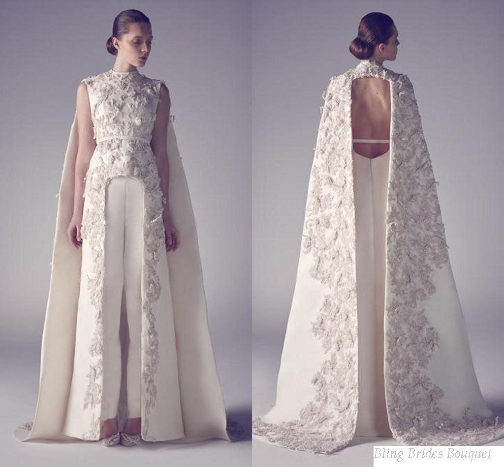 Wedding Dress Pantsuit High Neck Long Split Front Formal Evening