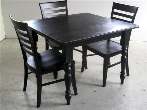 Painted Farm Table With Extension Ecustomfinishes Square Kitchen Tables Dining Table In Kitchen Kitchen Table Settings