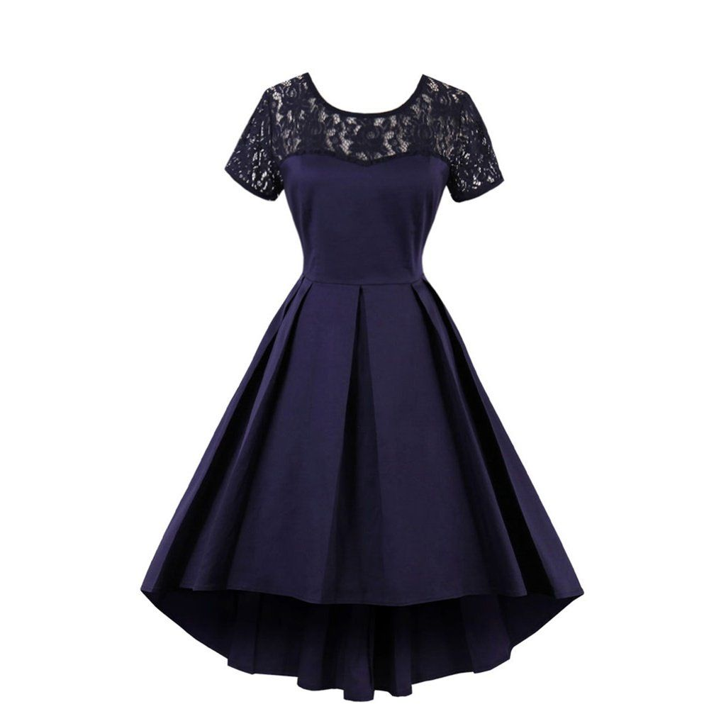Lace panel dip hem pleated dress in vintage pinterest