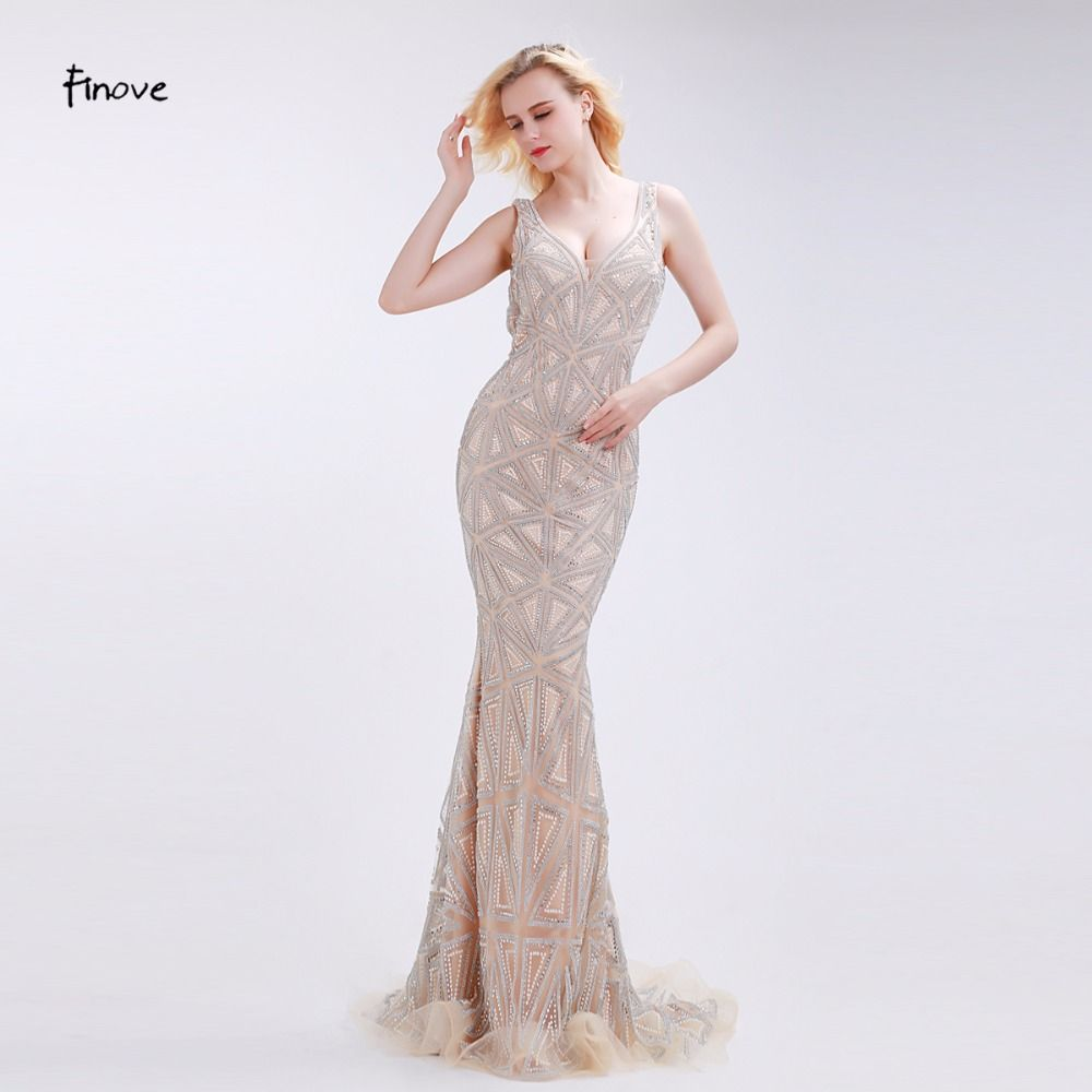 Finove champagne evening dresses stunning beading sexy deep vneck