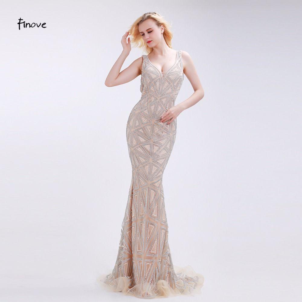 Finove champagne evening dresses stunning beading sexy deep vneck