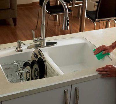 """Wilsonart HD """"Luna Winter"""" with undermount sink & beveled edge."""