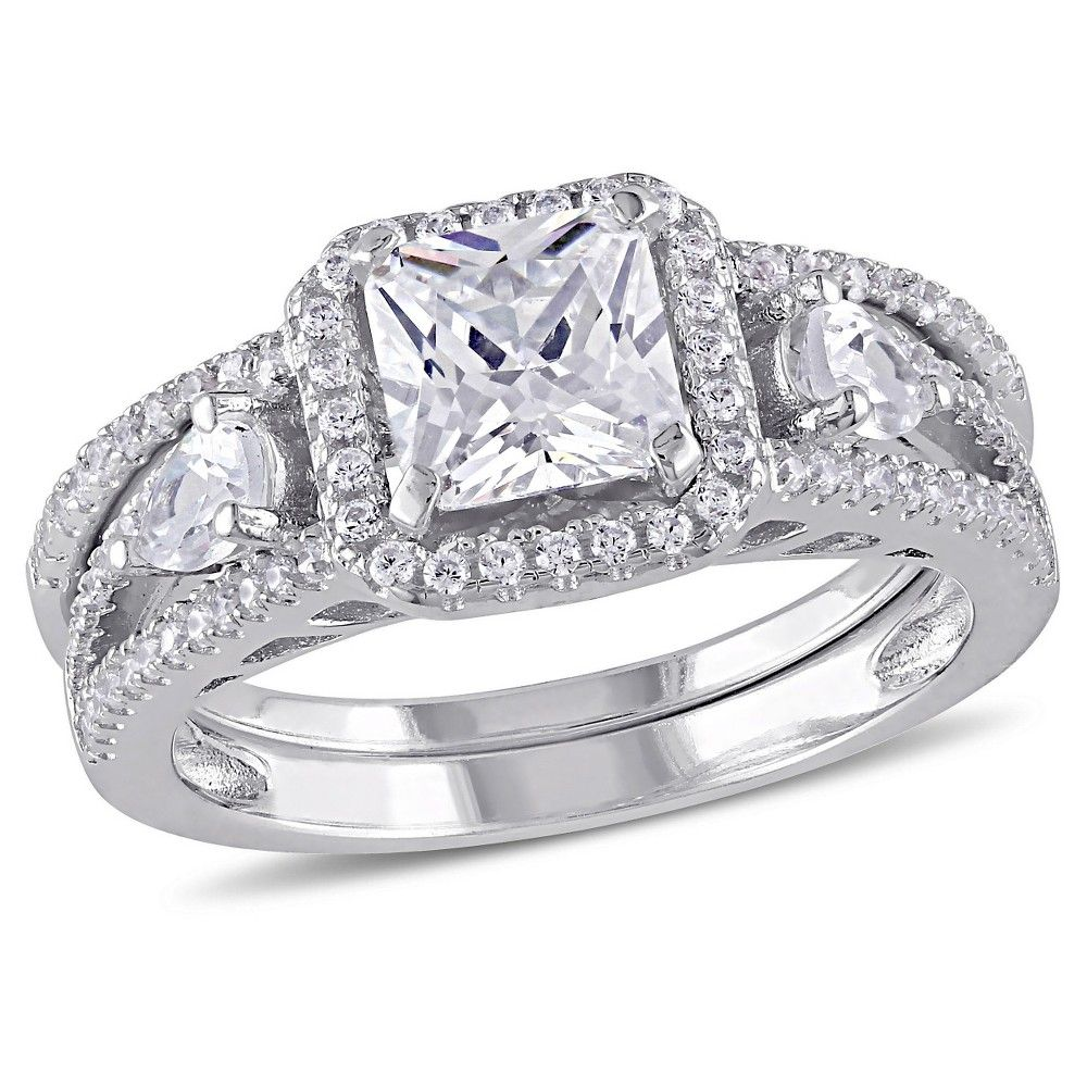 ct tw cubic zirconia bridal set in sterling silver