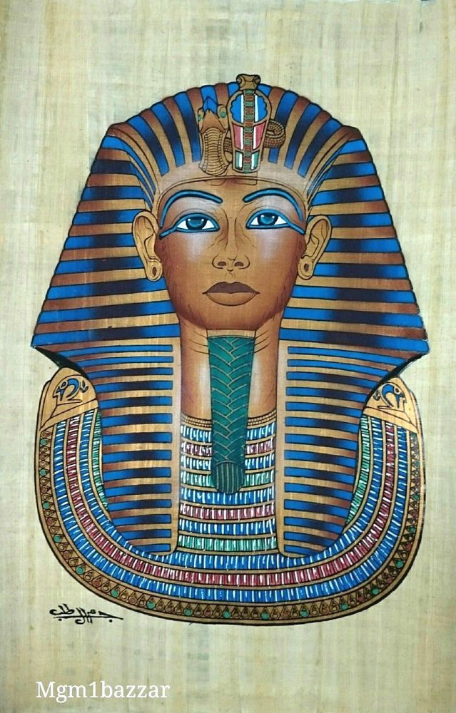 PHARAOH King Tutankhamun ORIGINAL HAND PAINTED PAPYRUS 16\