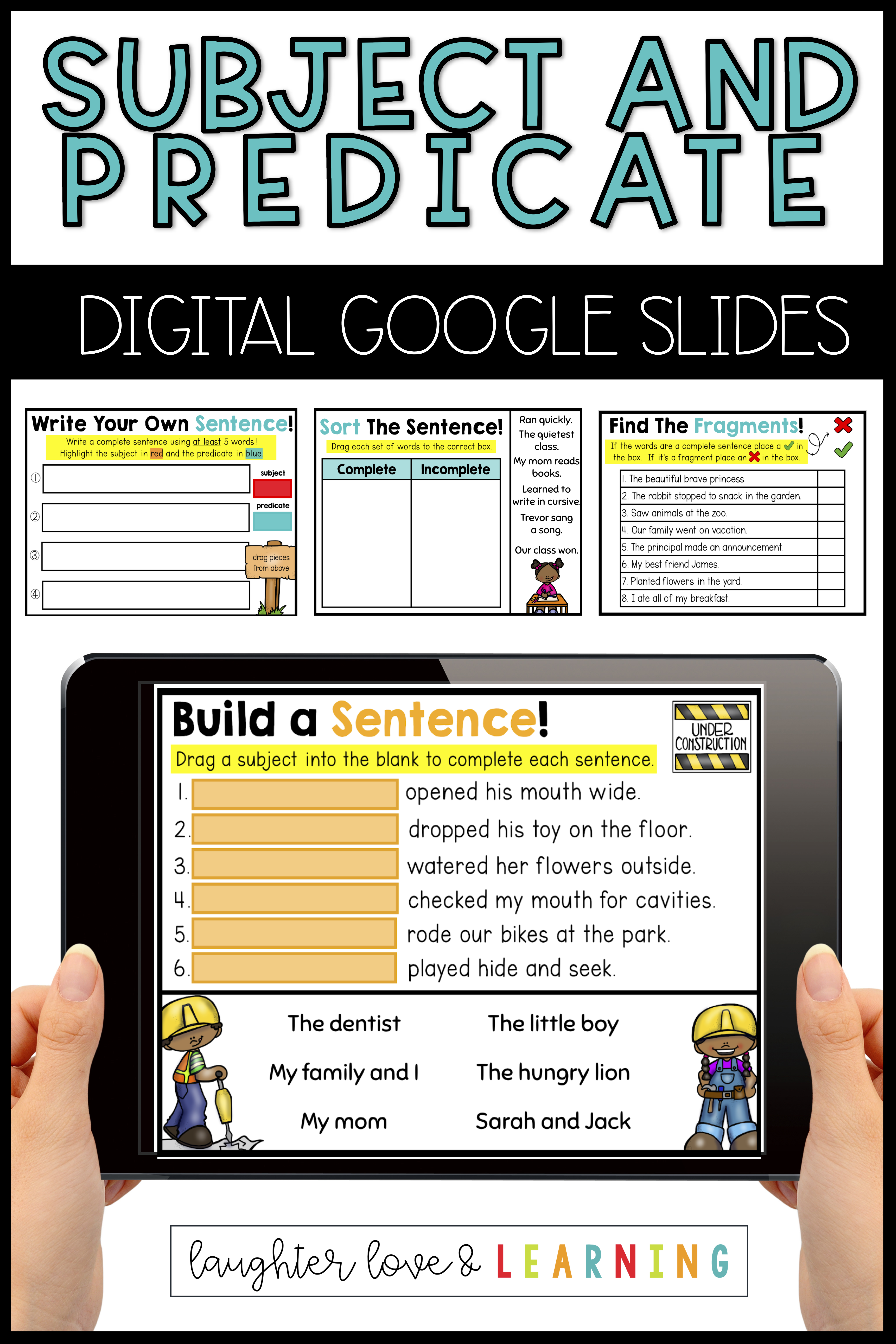 hight resolution of Subject and Predicate Practice: Digital Google Slides   Subject and  predicate