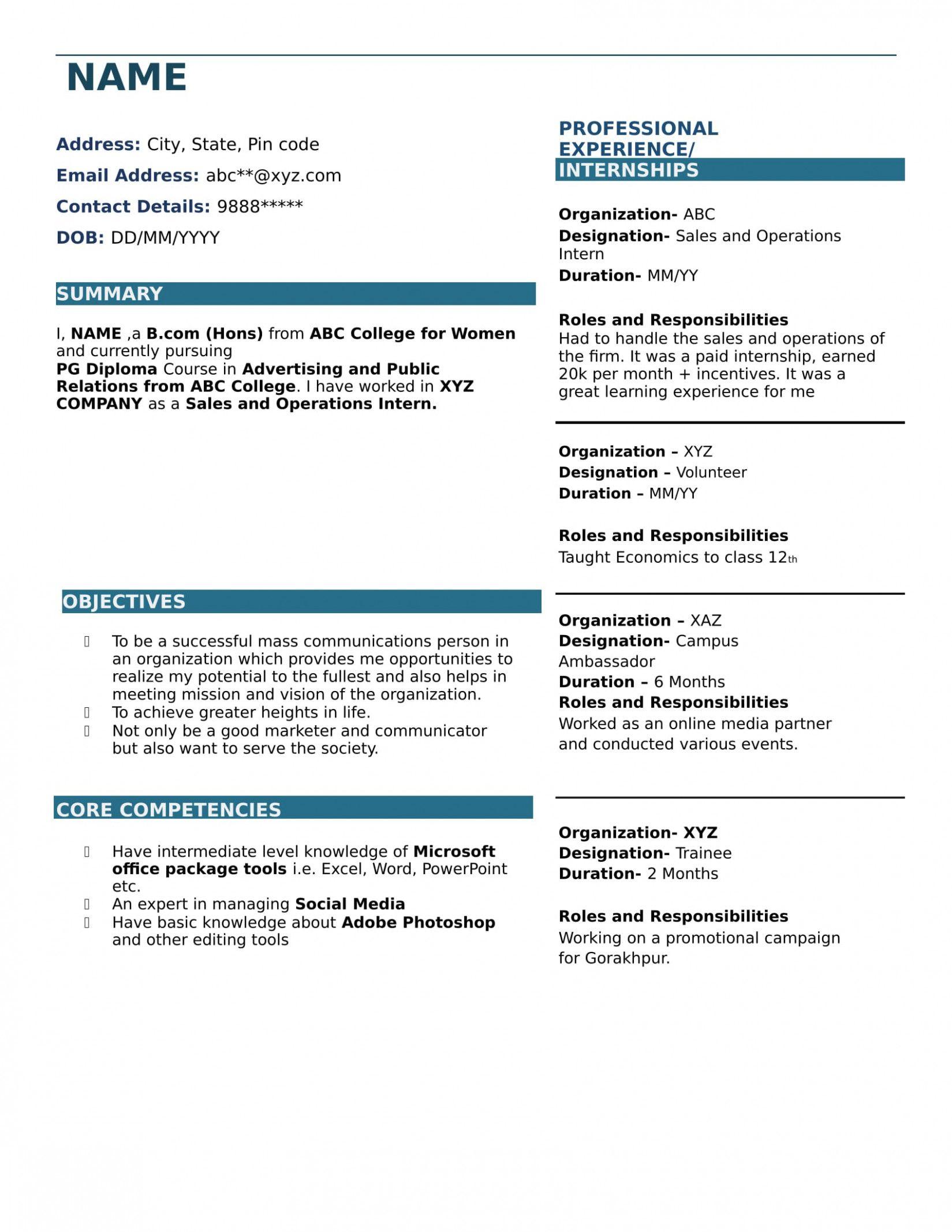 13 Resume Format For Freshers Bcom Resume Format For Freshers Resume Format Job Resume Template