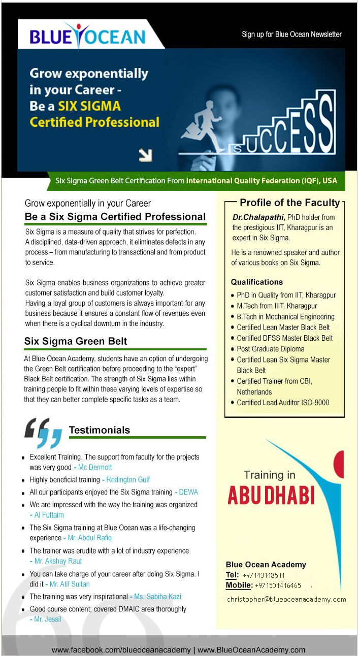 Book Your Seat For Six Sigma Certification Program On 24 April 2015