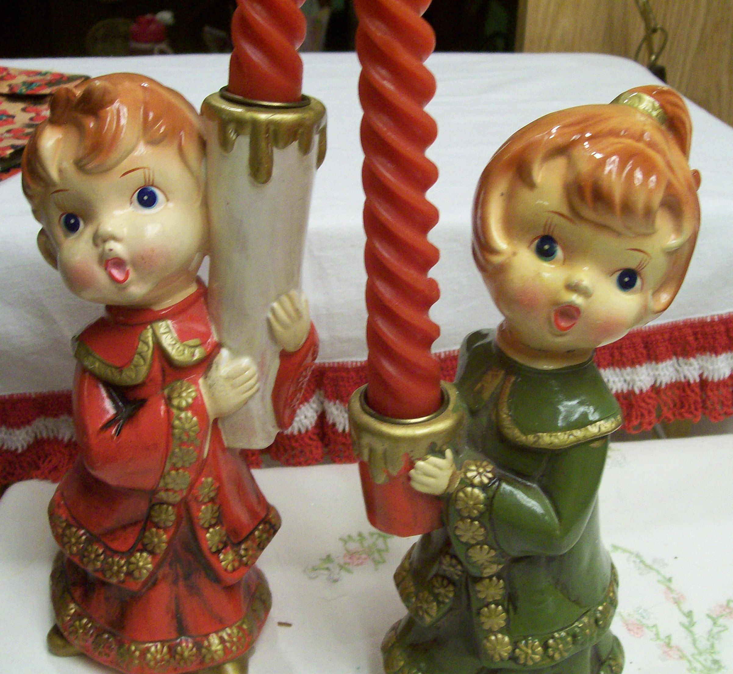 Singing Carolers Candleholders Figurines Vintage By: Vintage Carolers, Christmas Candle Holders, Children