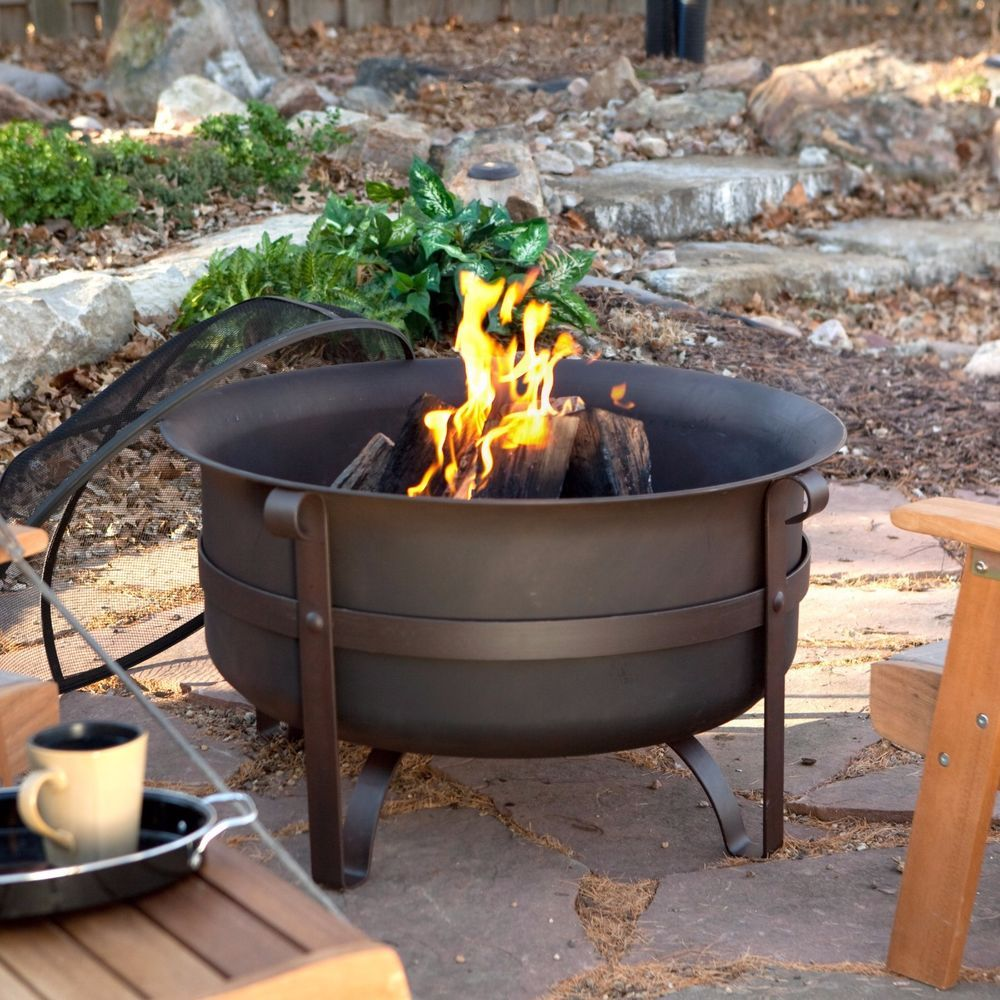 34 Inch Fire Pit Round Wood Burning With Screen Poker