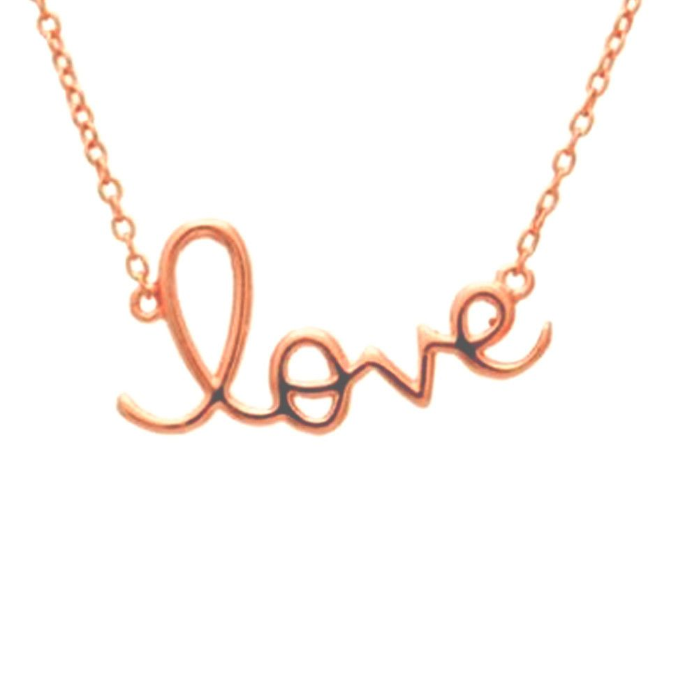 """Rose Gold Plated Silver """"Love"""" Pendant Necklace 16 inch 