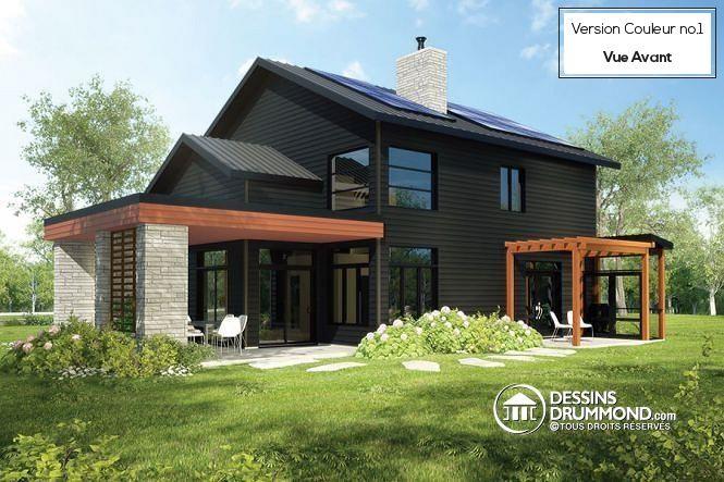 W3723-DJG - Plan de maison permettant des panneaux solaires au toit - liste materiaux construction maison