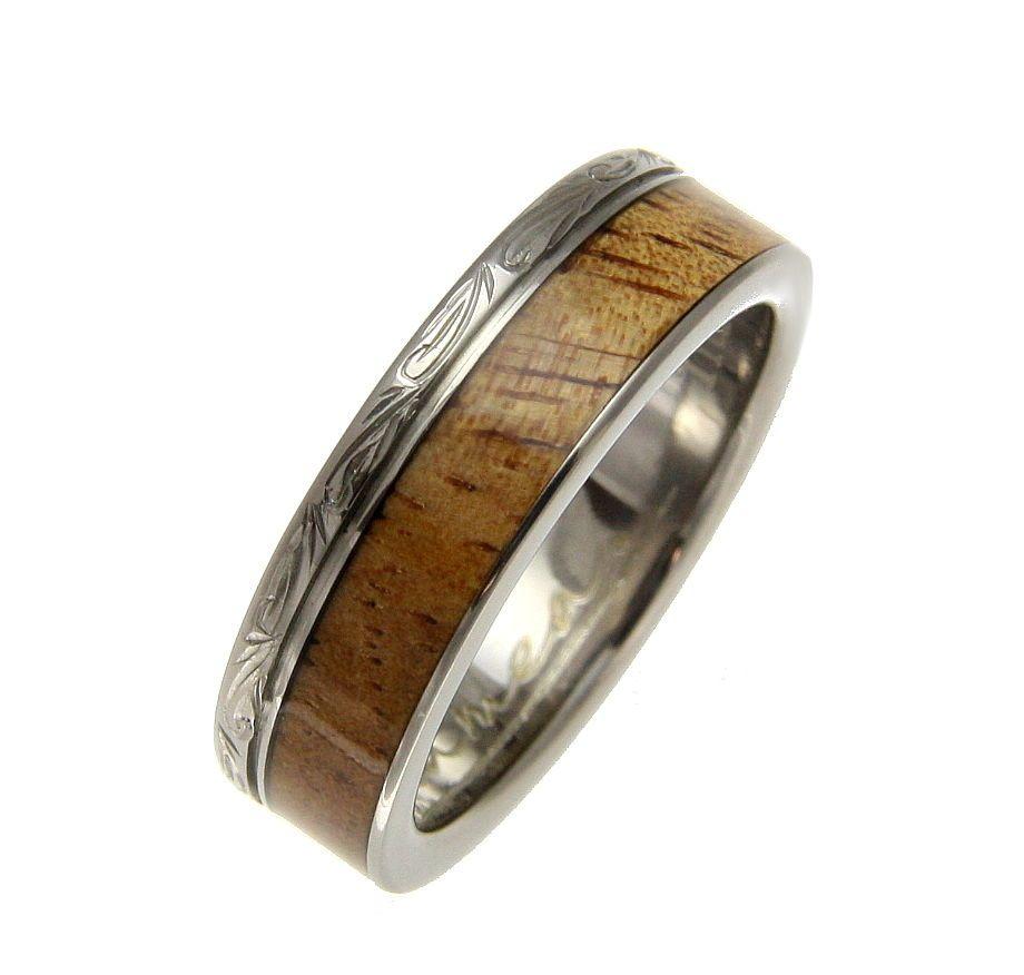 Genuine inlay hawaiian koa wood wedding band ring titanium scroll