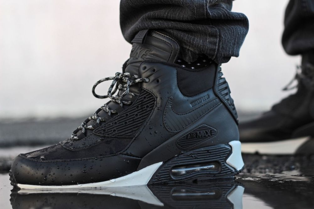nike air max 90 sneaker boot black\/black\/magnet grey\/black interior