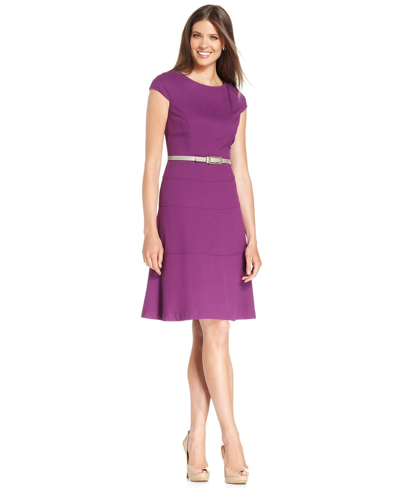Anne Klein Dress, Cap Sleeve Belted Textured A-Line - Dresses ...