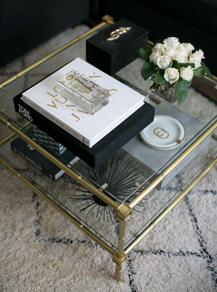 Erika Brechtel Home Living Room Brass Coffee Table Beni Ourain Rug Black  White Gold Tom Ford