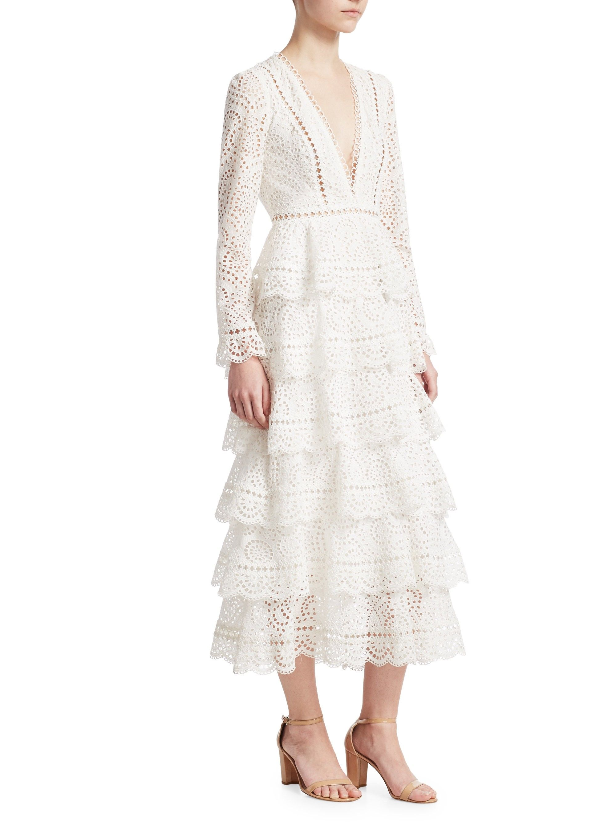 03664d31f99c Zimmermann Bayou Tiered Lace Midi Dress - Ivory 1 (4-6) in 2019 ...
