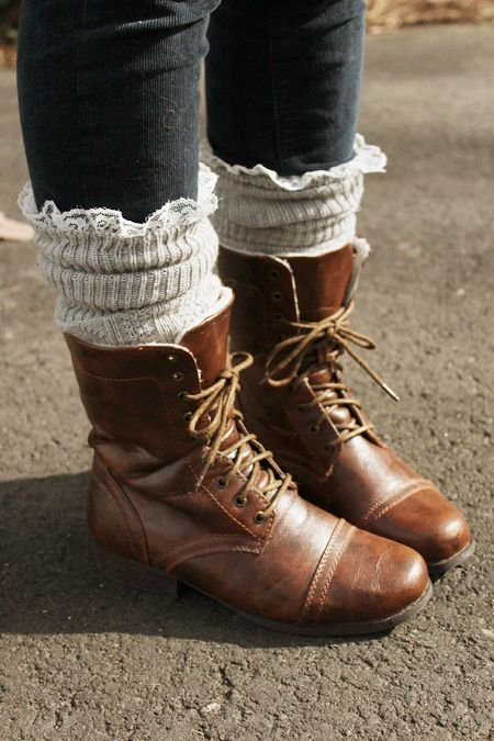 lace trimmed socks with brown ankle boots