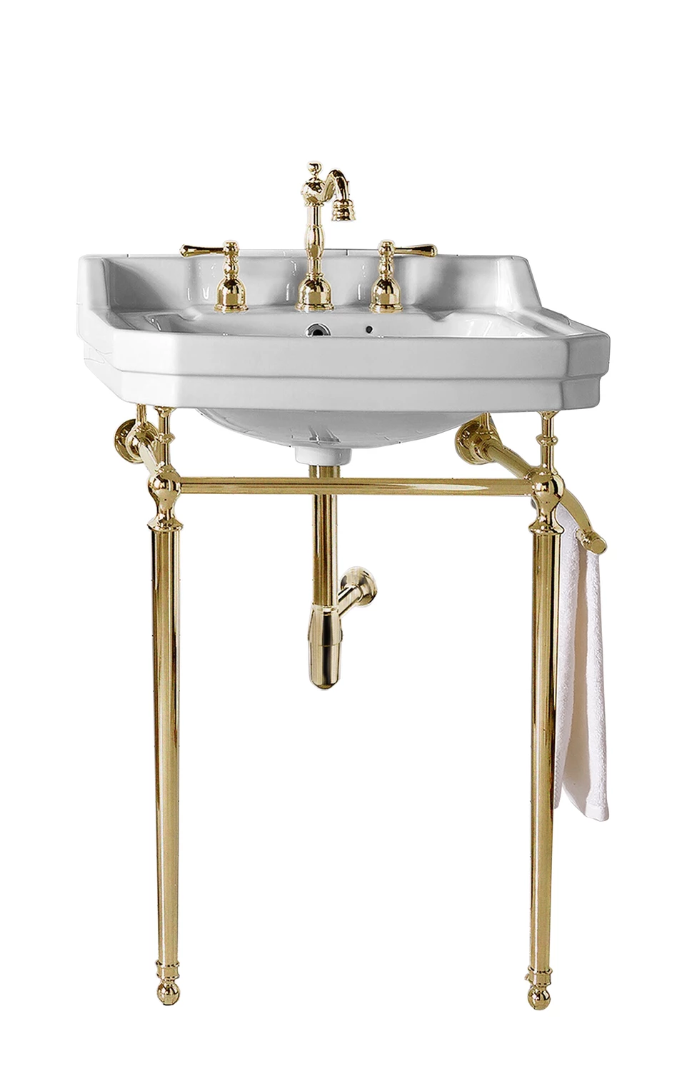 24 Wellington Single Bathroom Console Sink With Brass Finish