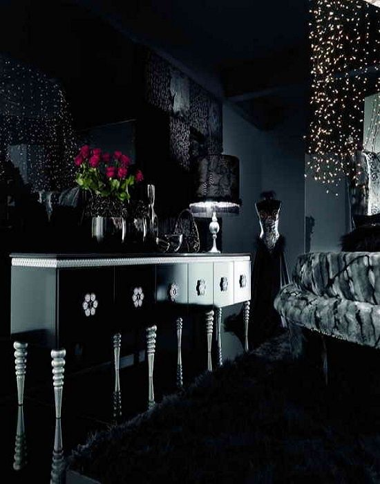 living roomglossy black decor for modern stylish chest of drawer with fur rug also - Black Room Decor