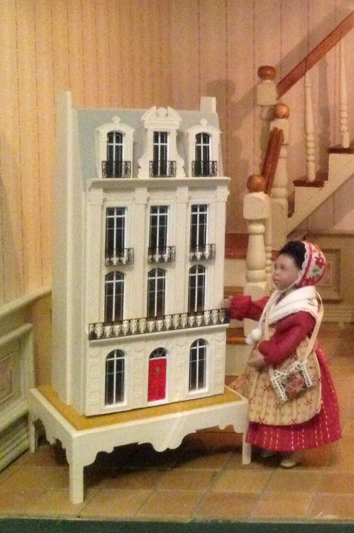 1/144th scale dollhouse with doll by Jane Davies