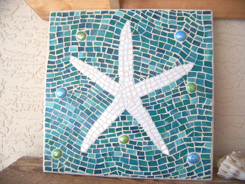 Mosaic Starfish Wall Art   Starfish Decor   Wall Hanging   Stained Glass  Mosaicu2026