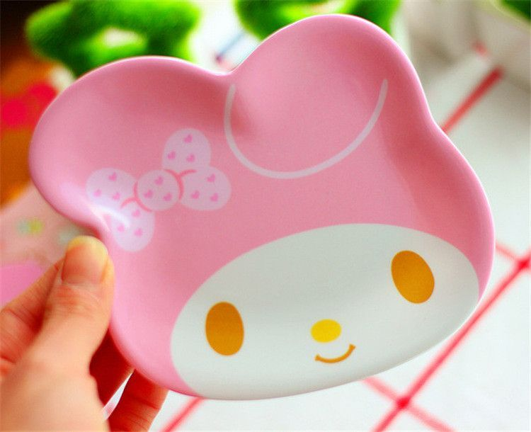 Hot sales Kawaii Hello Kitty & Melody Round Mini Dish Plate Cartoon Dinnerware Snack Holder Compote Tray Dish Decoration Plate