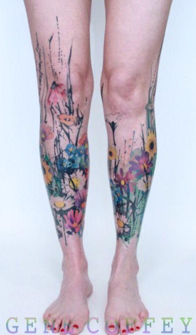 Gene Coffey Watercolor Flower Tattoo Flower Leg Tattoos