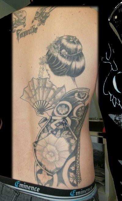 geisha dos japonais tatouage dessin originale dolphins. Black Bedroom Furniture Sets. Home Design Ideas