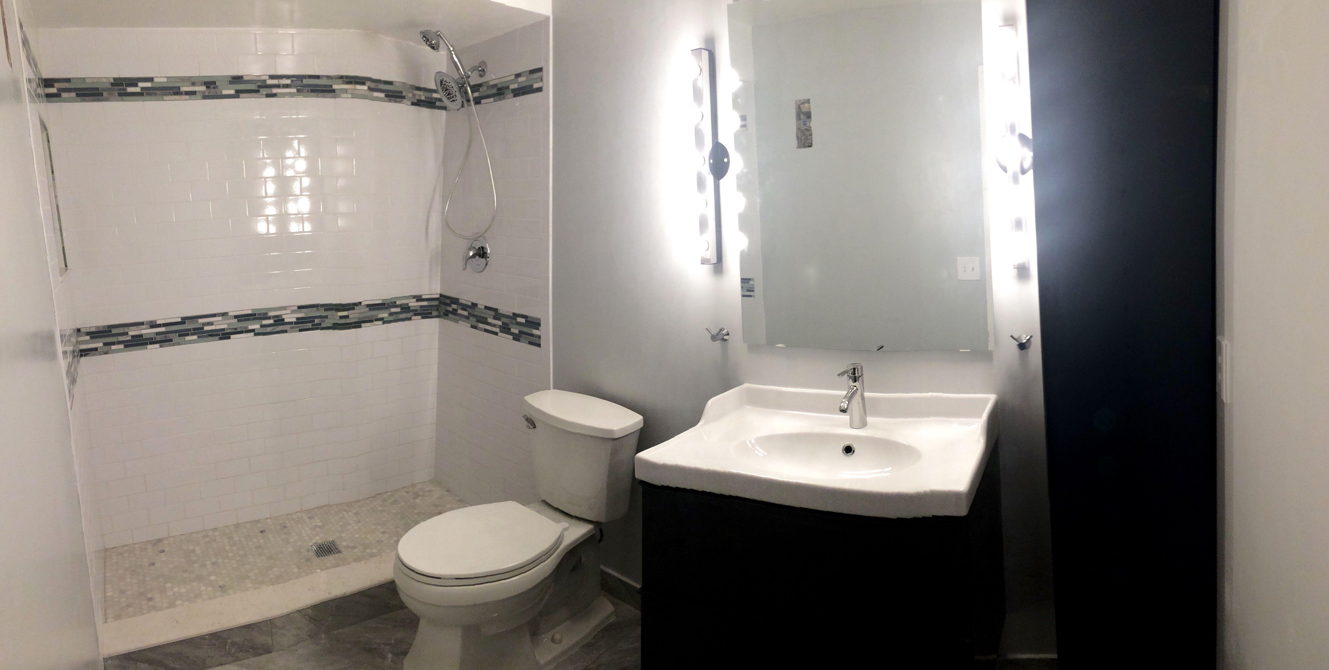IKEA Godmorgon Bathroom Master Bathroom White Subway Tile Shower Marble  Carrera Hexagon Mosaic Blue And Gray Glass And Stone Mosaic Ikea Bathroom  Grey And ...