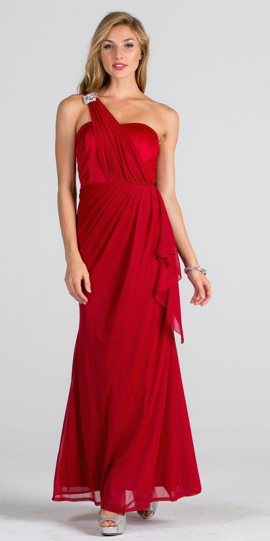 Embellished one shoulder long formal dress with drape royal blue