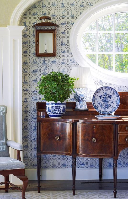 Interior Design Anthony Baratta Llc Lovely Blue And White Wallpaper In This Pretty Fresh Traditional Vignette Blue And White Wallpaper Interior Home Decor