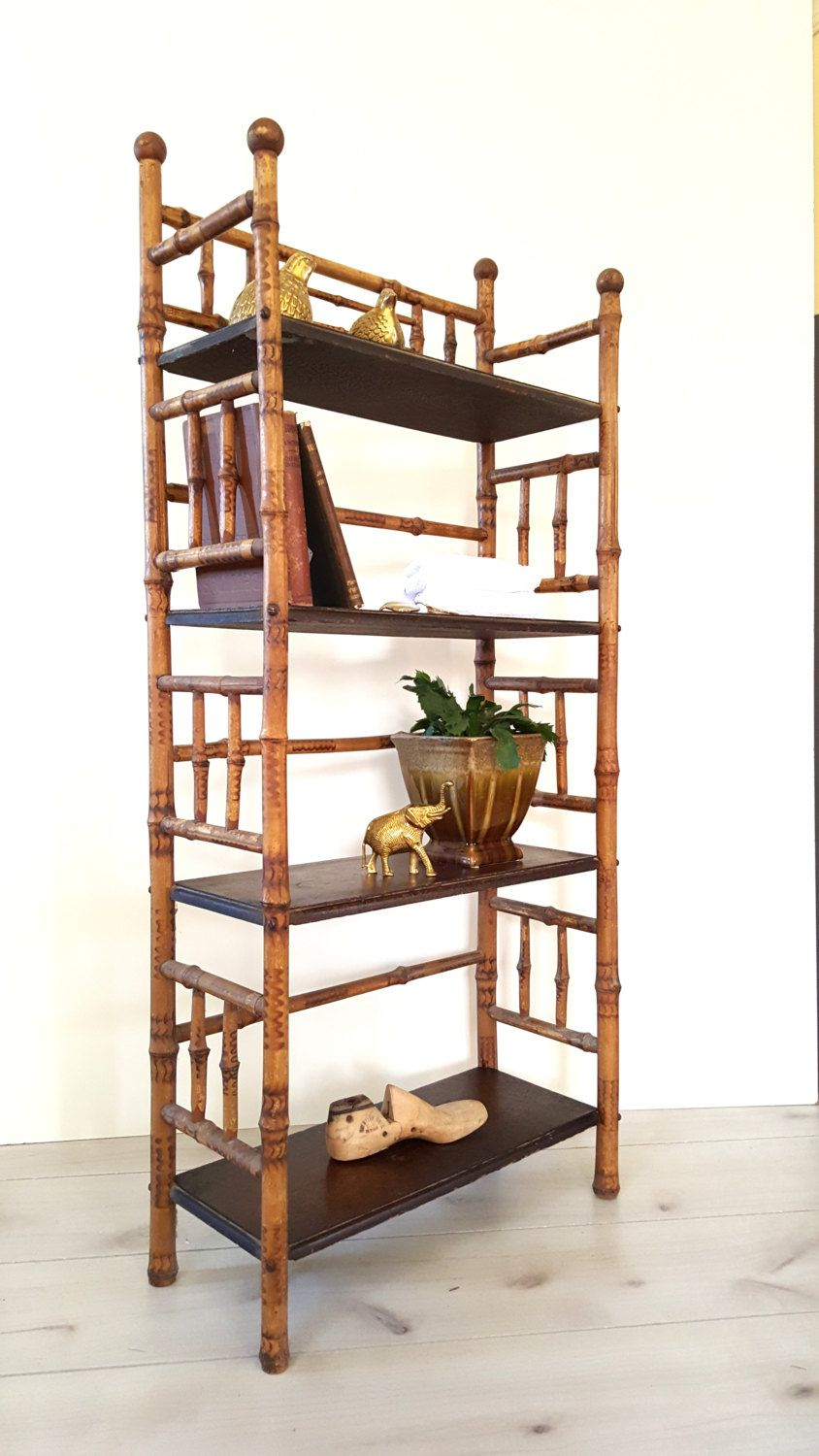 Antique Bamboo Bookshelf/ Bookcase / Etagere / 4 Tier Shelving / Bookshelves ~ Antique Victorian Bamboo Bookcase by LUCKYHOMEFINDS on Etsy