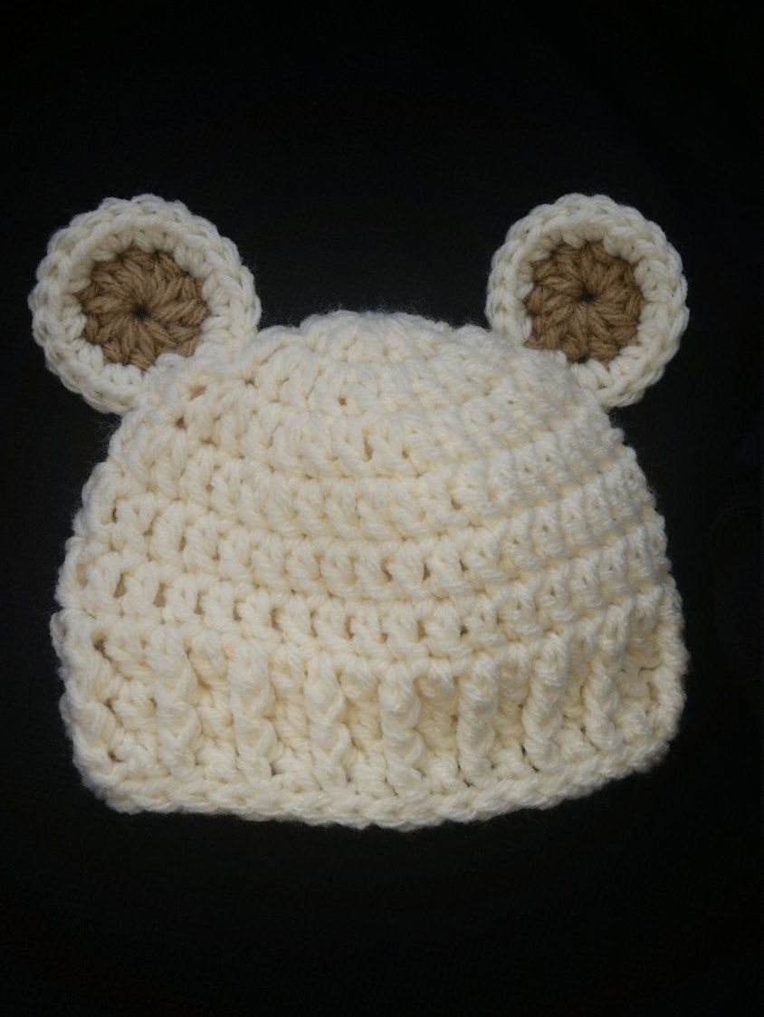 2c757a5d580 Crochet Baby Teddy Bear Hat