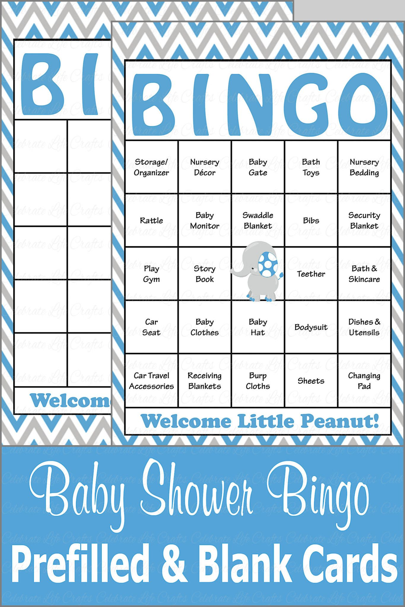 Elephant Baby Shower Baby Bingo Cards Printable Download Baby Shower Game For Boy Blue Gray B3004 Baby Shower Baby Shower Bingo Baby Shower Games