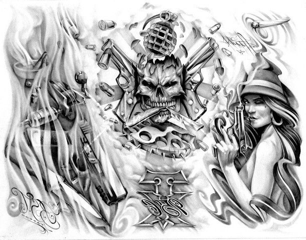 Gallery For Gangster Tattoos Drawings Gangster Tattoos Tattoo Drawings Skull Tattoo Design